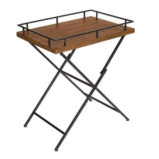Kate And Laurel Mcdowell Tray Table Rustic Brown