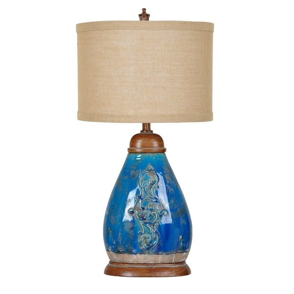 Providence Blue Scroll 32-inch Table Lamp
