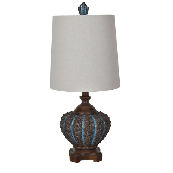 Reef Shell Blue Coastal and Wood 31.5-inch Table Lamp