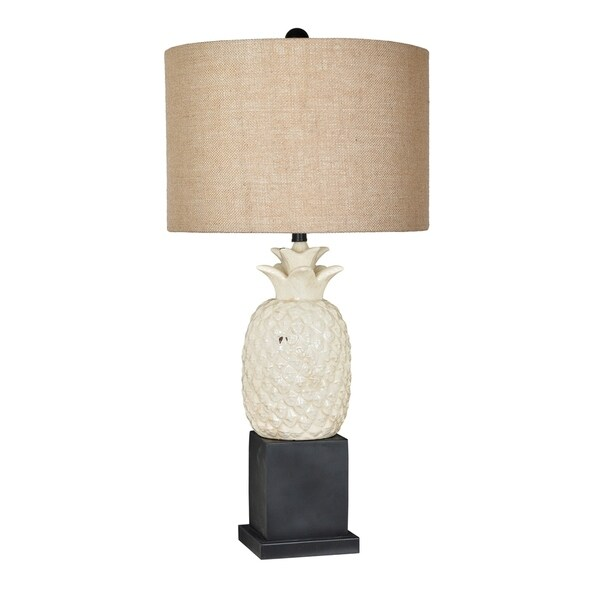 Welcome Cream and Black 34-inch Table Lamp