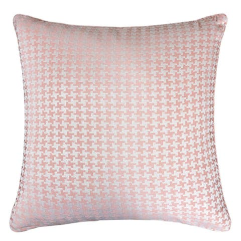 Jacquard Cotton Throw Pillow Cover, Pink Houndstooth Modern Silk Plaid Textured Sofa Couch Decorative Pillow 20 x 20 Inch