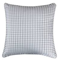 Jacquard Cotton Throw Pillow Cover, Gray Houndstooth Modern Silk Plaid Textured Sofa Couch Decorative Pillow 20 x 20 Inch