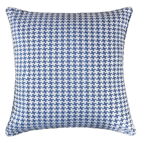Jacquard Cotton Throw Pillow Cover, Navy Blue Houndstooth Modern Silk Plaid Textured Sofa Couch Decorative