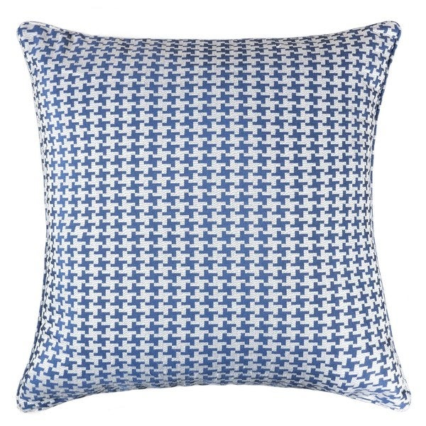 Shop Jacquard Cotton Throw Pillow Cover Navy Blue Houndstooth Adorable 20 X 20 Inch Pillow Covers