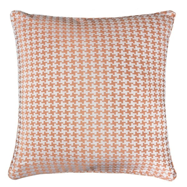 Jacquard Cotton Throw Pillow Cover, Orange Houndstooth Modern Silk Plaid Textured Sofa Couch Decorative Pillow 20 x 20 Inch. Opens flyout.