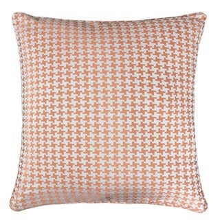 Jacquard Cotton Throw Pillow Cover, Orange Houndstooth Modern Silk Plaid Textured Sofa Couch Decorative Pillow 20 x 20 Inch