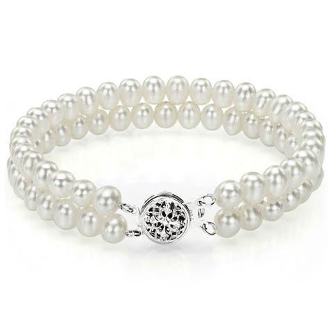DaVonna 14k White Gold Double-strand 5-6mm White Freshwater Pearl Bracelet - Black