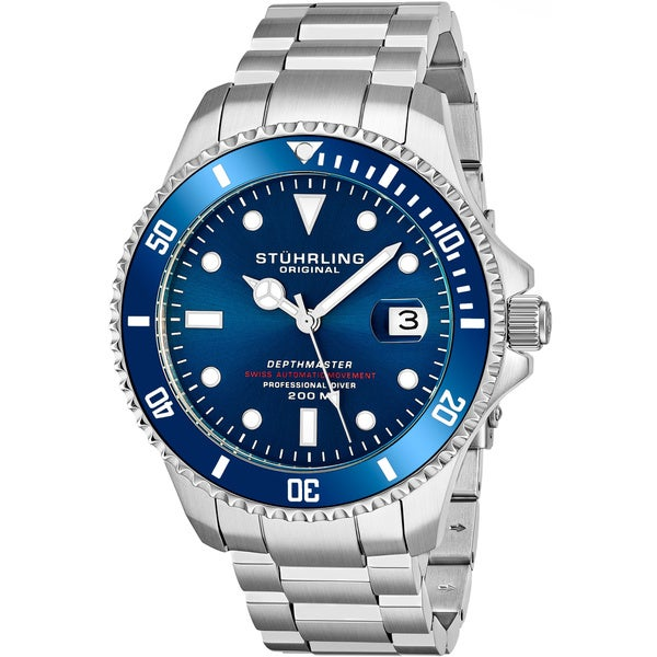 "Stuhrling Original Men's Swiss Automatic Stainless Steel Professional ""DEPTHMASTER"" Dive Watch, 200 Meters Water Resistant. Opens flyout."