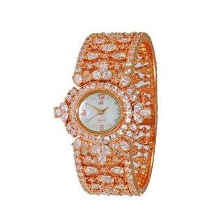 Adee Kaye Womens MOP & Crystal Spring Bangle Watch-Rose tone