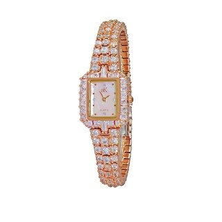 Adee Kaye Womens Rhodium Plated MOP Crystal Watch-Rose tone
