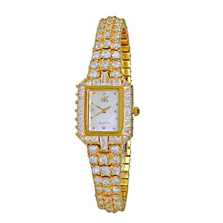 Adee Kaye Womens Rhodium Plated MOP Crystal Watch-Gold tone