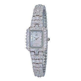 Adee Kaye Womens Rhodium Plated MOP Crystal Watch-Silver tone