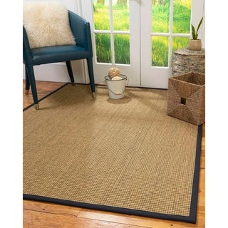 NaturalAreaRugs Hamptons Seagrass Area Rug Hand-Woven Midnight Blue Border - 8' x 10'