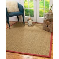 NaturalAreaRugs Hamptons Seagrass Area Rug Hand-Woven Red Border - 8' x 10'
