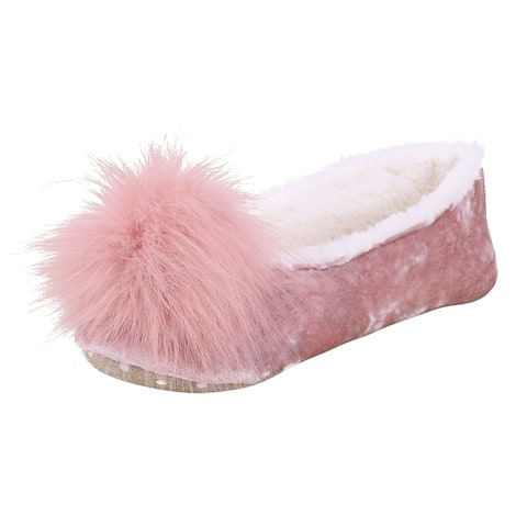 House Slipper - Fleece Lined with Faux-Fur Pompoms Pink 9-10