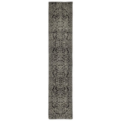 """Hand-Knotted Zion Charcoal Wool Rug - 2'6"""" x 12'"""