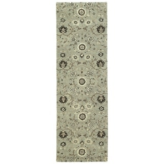 """Hand-Tufted Tannica Mint Wool Rug - 2'6"""" x 8'"""
