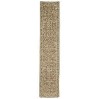 Hand-Knotted Zion Khaki Wool Rug - 2'6 x 12'