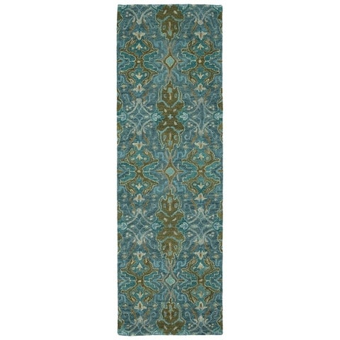 "Hand-Tufted Tannica Peacock Wool Rug - 2'6"" x 8'"