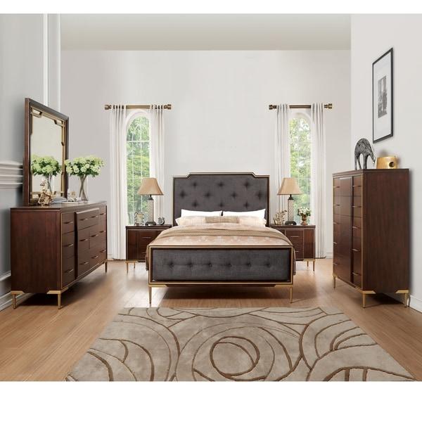 Acme Eschenbach Eastern King Bed in Dark Brown Fabric