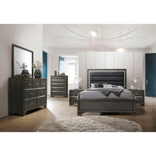 Acme Caren Queen Bed in Charcoal and Gray