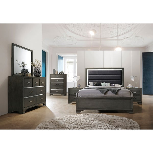 Acme Caren Eastern King Bed in Charcoal and Gray