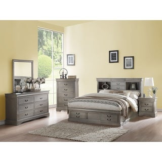 Acme Louis Philippe Storage Queen Bed in Antique Gray