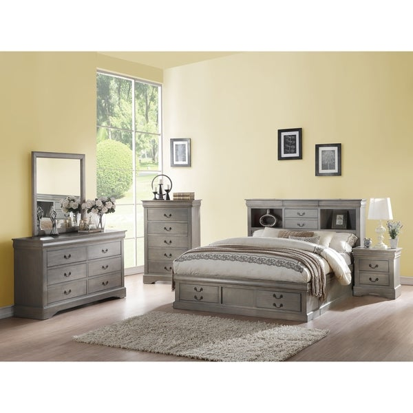 cd02fd9df524 Shop Acme Louis Philippe Storage Eastern King Bed in Antique Gray ...