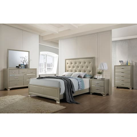 Acme Carine Eastern King Bed in Champagne