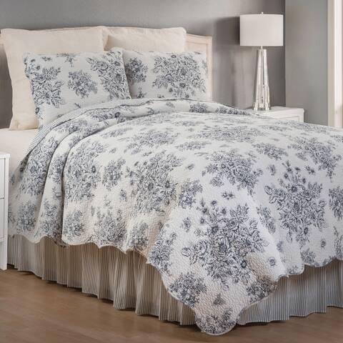 Sutton Black Vintage Rose Cotton Quilt
