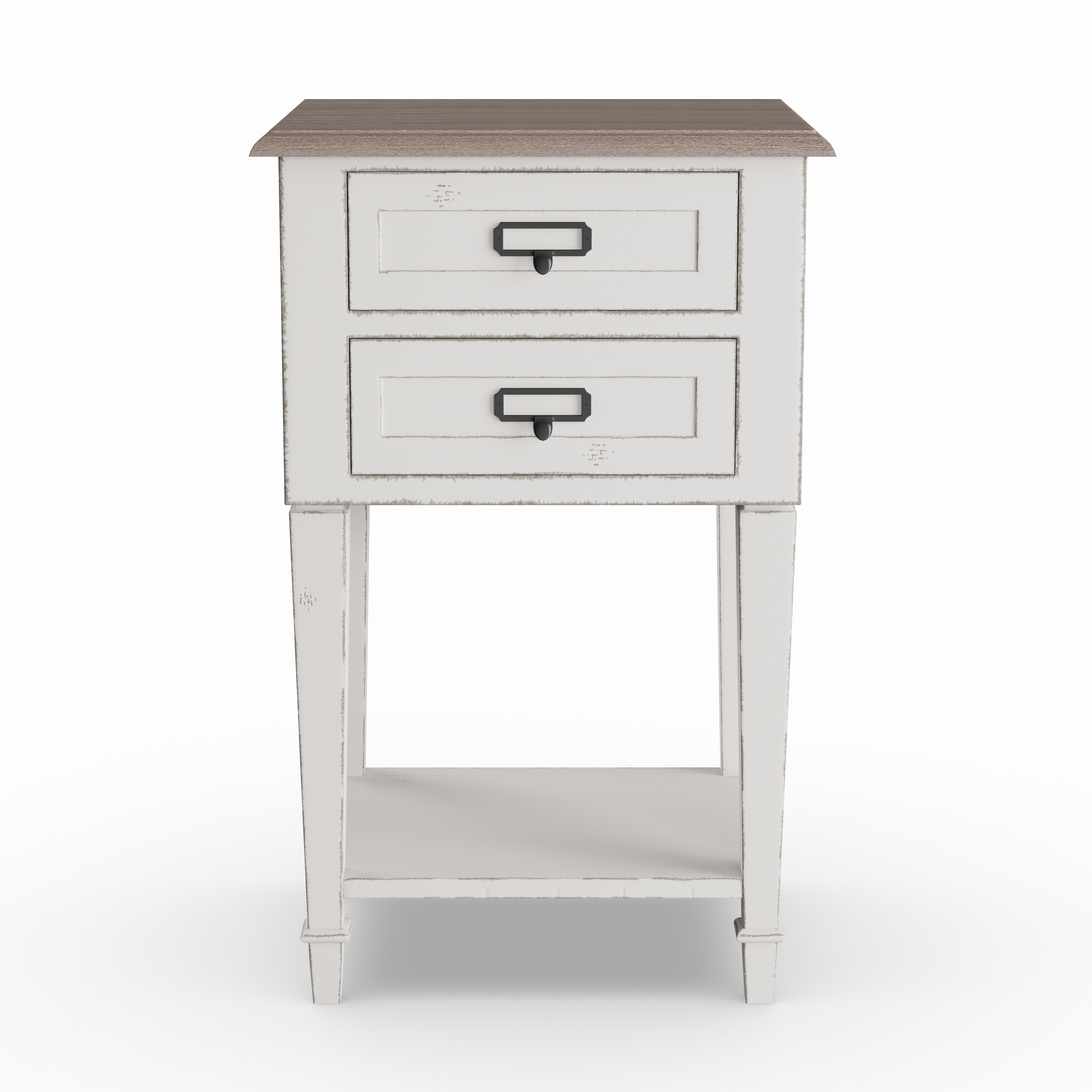 The Gray Barn Heart And Soil Weathered Oak And White Wash Distressed Finish Wood Nightstand