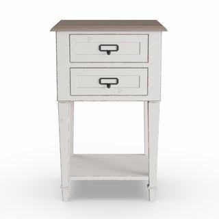 Maison Rouge Harriet Weathered Oak and White Wash Distressed Finish Wood Nightstand