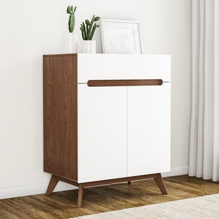 Carson Carrington Eskilstuna Mid-century White and Walnut 2-door Storage Cabinet