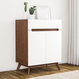 Mid-Century White and Brown Storage Cabinet by Baxton Studio