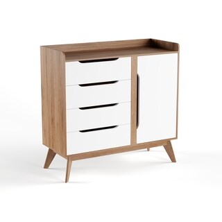 Mid-Century White and Brown Cabinet by Baxton Studio