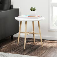 Carson Carrington Garoabaer White Round End Table with Light Oak Metal Legs