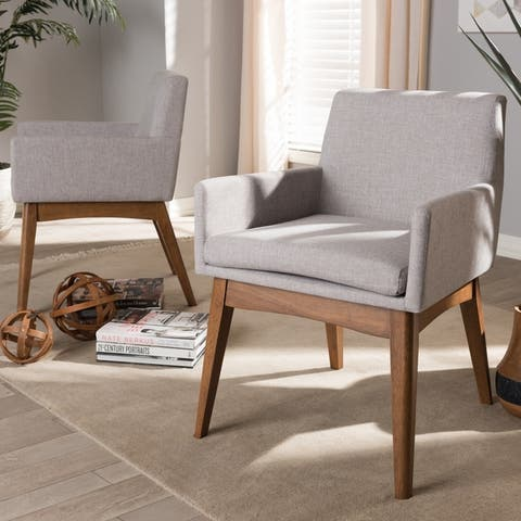 Carson Carrington Lillestrom 2-piece Mid-Century Fabric Dining Arm Chair Set