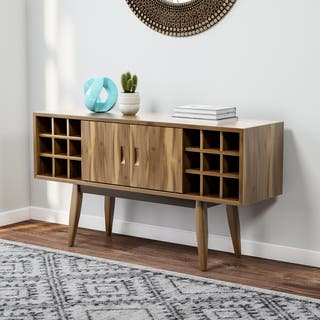 Carson Carrington Lund Acacia Wood Mid-century Bar Cabinet