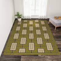 "Carson Carrington Roskilde Geometric Green/ Ivory Indoor/ Outdoor Area Rug - 6'7"" x 9'6"""