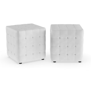 Porch & Den Las Olas White Cube Ottoman (Set of 2)