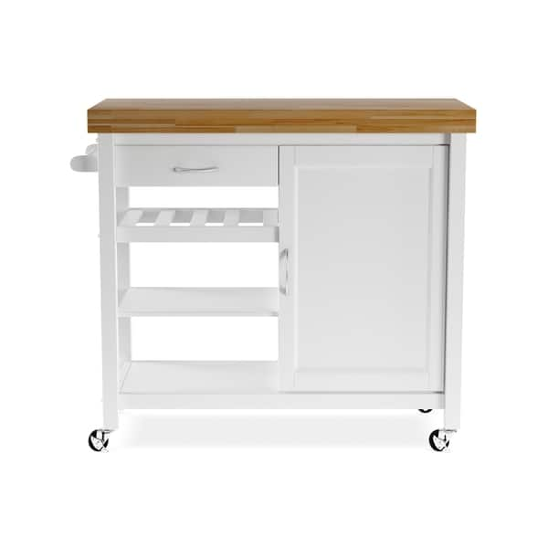 Shop Denver White Modern Kitchen Cart - Free Shipping Today ...
