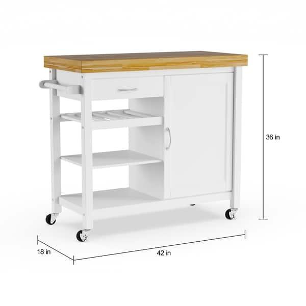 Shop Denver White Modern Kitchen Cart - On Sale - Free ...