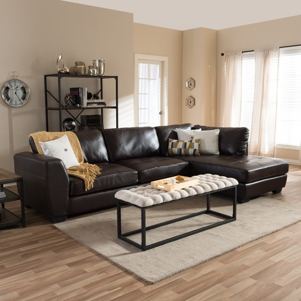 Shop Porch & Den Glendale Brown Bonded Leather Modern Sectional Sofa ...