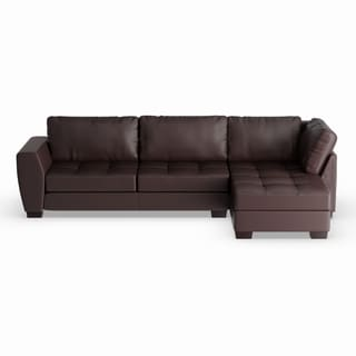 Maison Rouge Aled Brown Bonded Leather Modern Sectional Sofa Set With Right  Facing Chaise