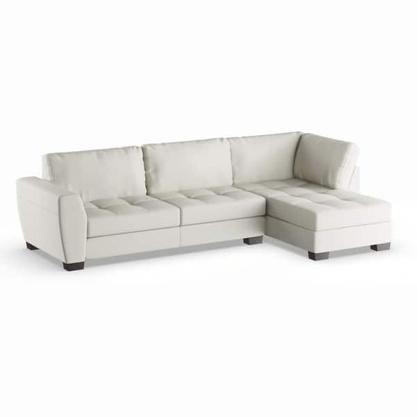 Shop Strick & Bolton Milles White Leather Modern Sectional ...