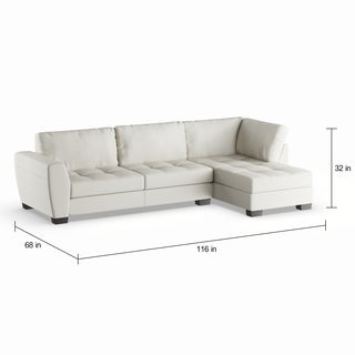 Maison Rouge Lee White Leather Modern Sectional Sofa Set with Right Facing Chaise