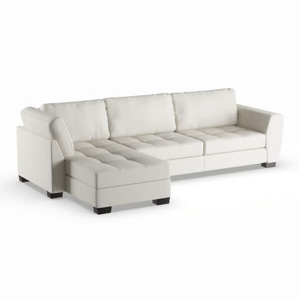 Astounding Shop Strick Bolton Milles White Leather Modern Sectional Dailytribune Chair Design For Home Dailytribuneorg