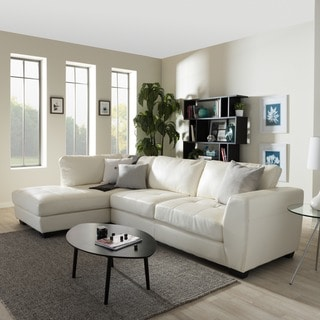 Strick & Bolton Milles White Leather Modern Sectional Sofa Set with Left Facing Chaise