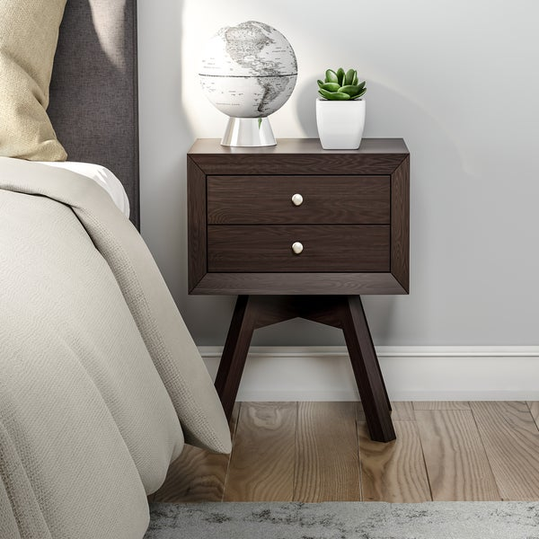 Carson Carrington Solna Modern Mid-century Modern Brown Nightstand