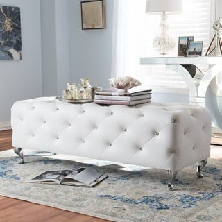 Silver Orchid Heston Crystal Tufted Modern Bench